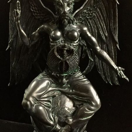 Baphomet Statue Black and Antiqued Green Resin by Maxine Miller ©celticjackalope.com