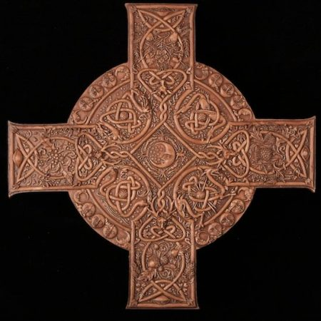 Elemental Celtic Cross Plaque Wood Finish Resin Artist: Maxine Miller ©celticjackalope.com