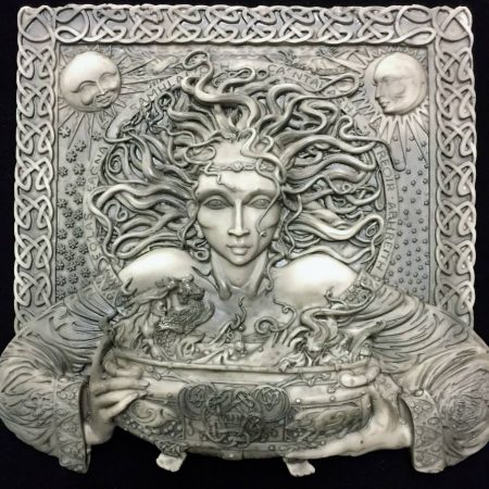 Photo 1 Celtic Goddess Cerridwen Plaque Stone Finish Resin by Maxine Miller © Celticjackalope.com