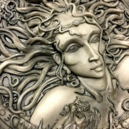 Photo 2 Celtic Goddess Cerridwen Plaque Stone Finish Resin by Maxine Miller © Celticjackalope.com