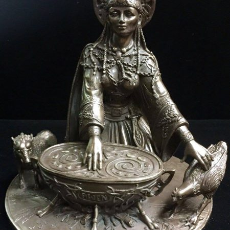Front: Cerridwen Celtic Crone Goddess of Wisdom Statue Cold Cast Bronze by Maxine Miller ©Maxine Miller