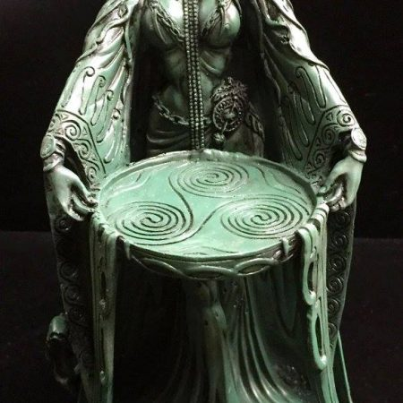 FRONT 1: DANU Celtic Water Goddess Statue Green Bronze Resin by Mazine Miller © Maxine Miller