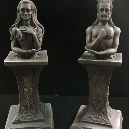 HORNED GOD & MOON GODDESS HERM ALTAR STATUE SET STONE FINISH RESIN by Maxine Miller ©celticjackalope.com