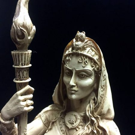 Front Close Up: Hecate Hekate Goddess of Witchcraft Statue by Maxine Miller ©celticjackalope.com