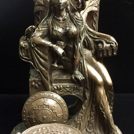 FRONT: Maeve / Medb Celtic War and Love Goddess Statue Cold Cast Bronze By Maxine Miller ©Maxine Miller