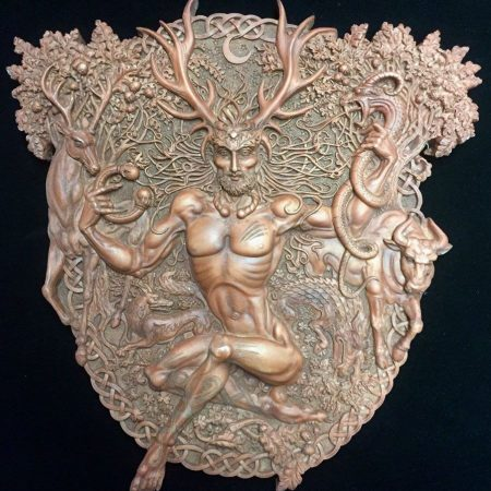 Celtic Horned God Cernunnos Wall Plaque Wood Finish Resin by Maxine Miller ©celticjackalope.com