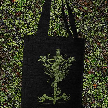 Dragon sword and thistle resale cotton tote bag by Maxine Miller ©celticjackalope.com