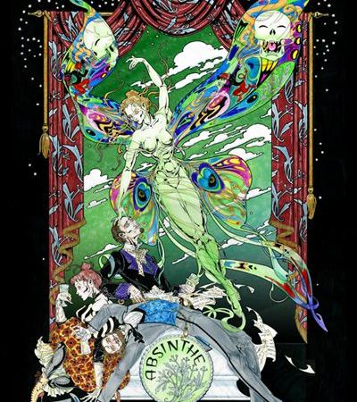 ABSINTHE Green Fairy Giclee print on Canvas by Maxine Miller Framed. ©celticjackalope.com