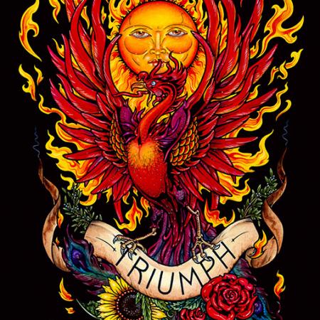 TRIUMPH - Fiery Phoenix Giclee print on Canvas by Maxine Miller Framed. ©celticjackalope.com